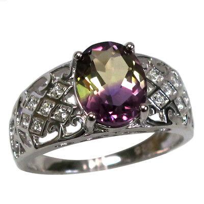 BEAUTIFUL 3 CT AMETRINE 925 STERLING SILVER RING SIZE 5-10 Beautiful Sterling Silver Ring