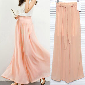 3044 Womens Bohemian Style Ladys Wide Leg Pleated Chiffon Culottes Loose Pants O