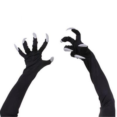 Long Fingered Gloves Spooky Halloween Witch Fancy Dress Costume Accessories AL - Long Fingered Gloves Halloween