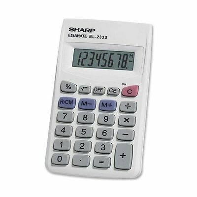 Sharp 8 Digit Handheld Pocket Calculator White Small Compact Pocket or Purse