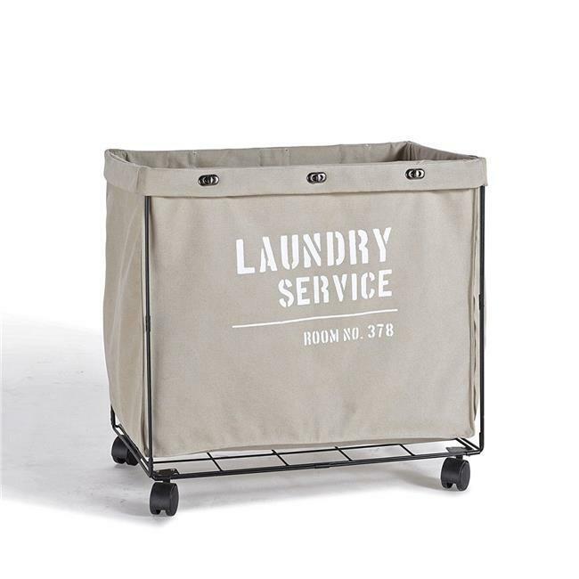 Danya B LY207 Army Canvas Laundry Hamper on Wheels
