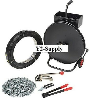Industrial 12w 2940 Steel Strapping Kit With Tensioner Sealer Seals Cart