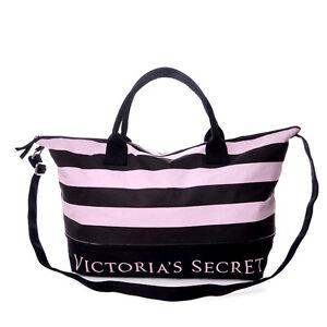 Victoria-s-Secret-Pink-amp-Black-Stripes-Expandable-Travel-Tote-Bag-Pink-CODPaypal