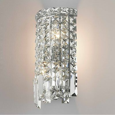 "2-Light Chrome Finish D 6"" H 13"" Apollo Clear Crystal Wall Sconce Vanity Light"
