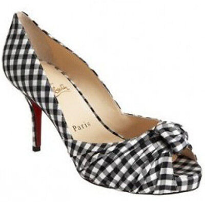 100% AUTHENTIC NEW WOMEN LOUBOUTIN GREISSIMO 85 VICHY BLUE CHECK HEELS/PUMPS 9.5