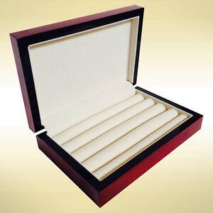 WOODEN CUFFLINK RING STORAGE BOX CUFF LINKS MENS JEWELRY DISPLAY CASE - CHERRY