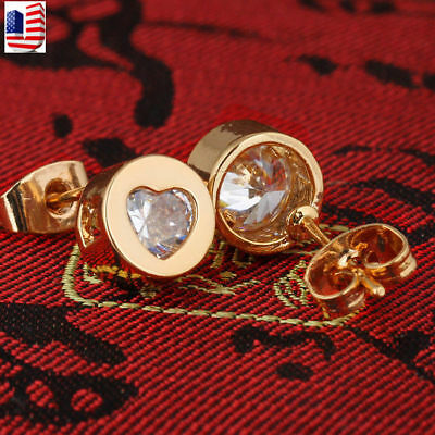 - Woman Fashion Gold Plated Cute Round Heart Austrian Crystal Stud Earrings Gift