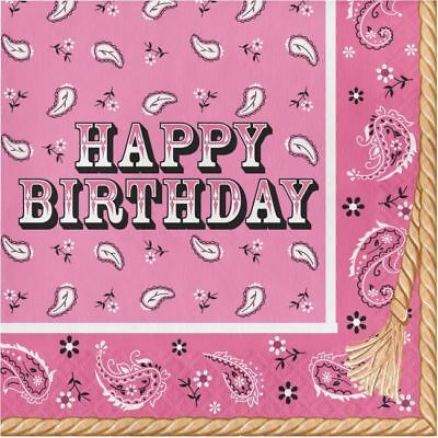 Western Pink Bandana Cowgirl Happy Birthday Lunch Napkins 16 Pack (Pink Bandana Napkins)
