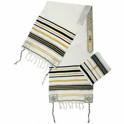 """Black Messianic Tallit New Covenant Prayer Shawl 72"""" x 22"""" from the Holy Land"""