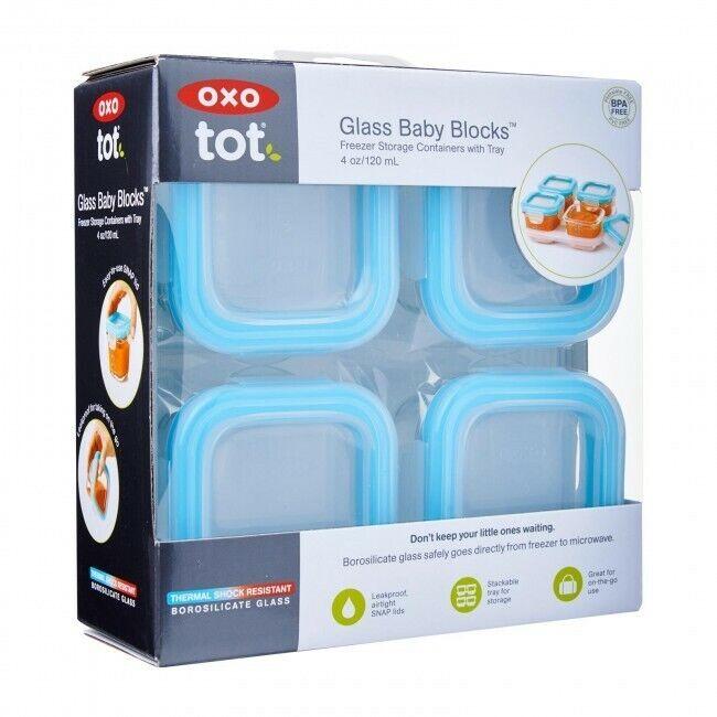 4 oz glass baby food storage blocks