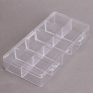 1x New Clear Rectangle 10 Checks Compartment Plastic Jewelry Display Case Box BS