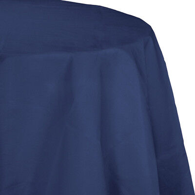 Navy Blue 2/Ply Paper-Poly Round Tablecloth - Paper Tablecloths Round
