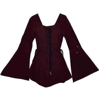 MITTELALTER BLUSE Gewandung weinrot M L XL XXL neu 1220 Gothic für Kostüm (Weibliche Larp Kostüm)