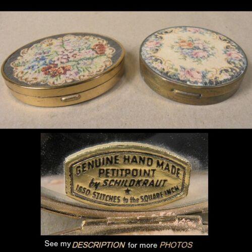 2 Vintage Shildkraut Pettipoint Ladies Compacts
