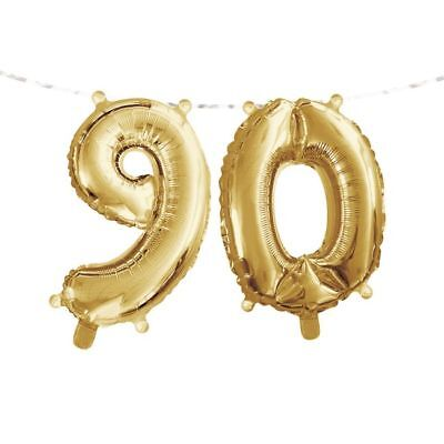Gold 90th Birthday Balloon Banner 9 0 Gold Number Balloon Party Decoration](90th Birthday Balloons)