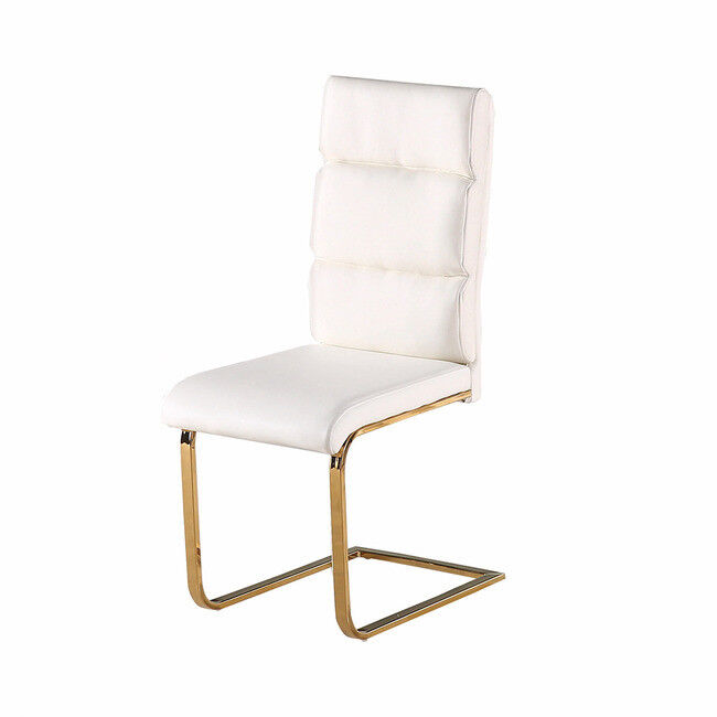 SLEEK MODERN WHITE LEATHER PAIR OF 2 DINING CHAIRS WITH POLISHED GOLD LEGS