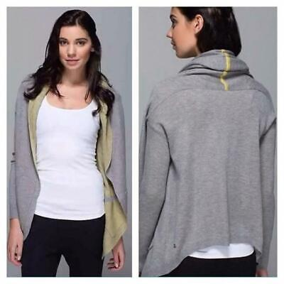 LULULEMON CABIN YOGI WRAP SWEATER SIZE 10 GRAY/GREEN HOODIE REVERSIBLE CARDIGAN