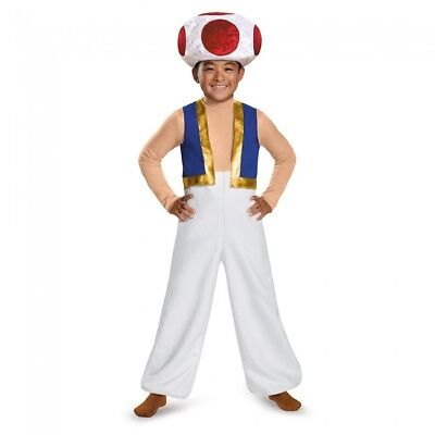 Disguise Super Mario Bros Toad Deluxe Spiel Kind Jungen Halloween Kostüm - Mario Toad Kostüm Kind