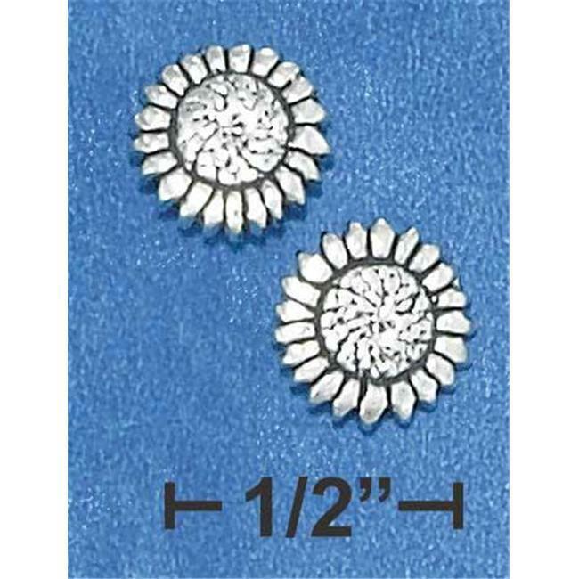 Sterling Silver Mini Sunflower Earrings On Posts