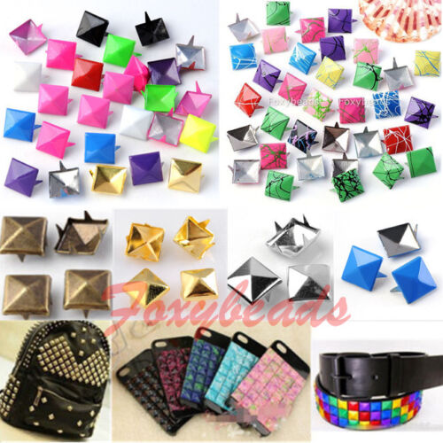 100x-Punk-Colors-Metal-Square-Pyramid-Rivet-Cone-Studs-Nailhead-Craft-Spike-DIY