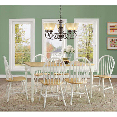 7 Piece Dining Set Table and 6 Chairs Country Farmhouse White Oak Solid