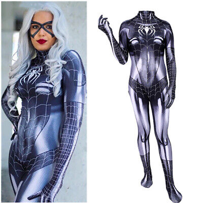 US!MJ Spider-Man Symbiote Black Cat Women One-piece Slim Tight Halloween Costume - Catwomen Costume