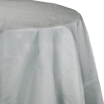 Silver 2/Ply Paper-Poly Round Tablecloth 82