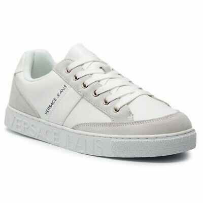 Mens Versace Jeans White Leather Trainers Shoes E0YTBSF3 UK 9_10_11 EU 43_44_45