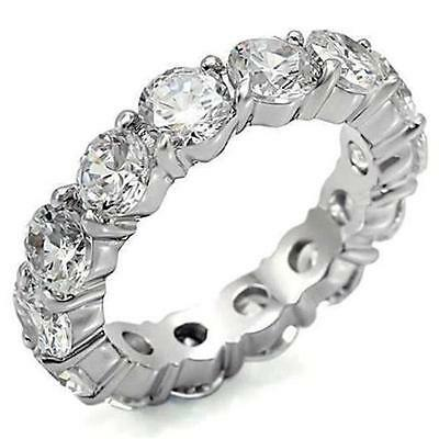 4 TCW 925 Sterling Silver Round 4 mm CZ Eternity Bridal Ring Band Size 4-11 4 Round Czs Ring