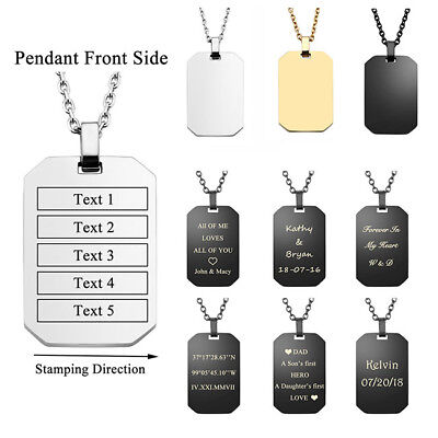 Mens Personalised Text Engraved Military Dog Tag Pendant Necklace Custom Gift US Military Dog Tag Necklace