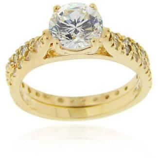 Ladies CZ Wedding Ring Set 18k/925