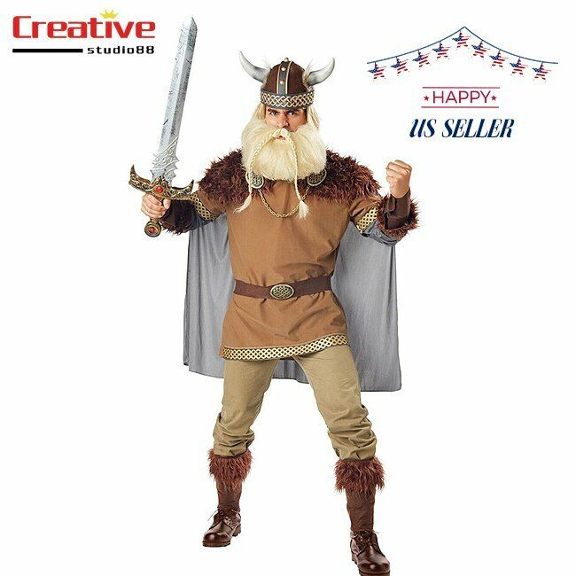 US! Mens Viking Age Outfit Halloween Party Cosplay Costume