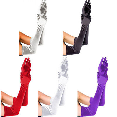 Womens Bridal Prom Elbow-length Long Stretch Satin Evening Party Arm Gloves](Elbow Length Gloves)