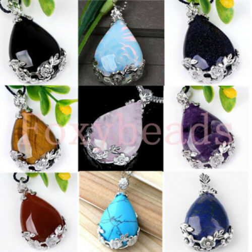 1X-Amethyst-Gems-Inlaid-Teardrop-Flower-Pendant-Reiki-Healing-Bead-For-Necklace