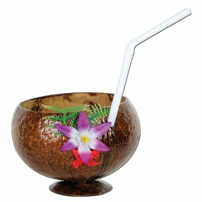 Coconut Cup 10 oz w/Flower and Straw Luau Party Supplies and - Coconut Cups
