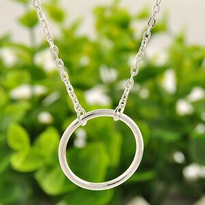 Elegant Simple Silver Circle Forever Eternity Infinity Clavicle Chain Necklace