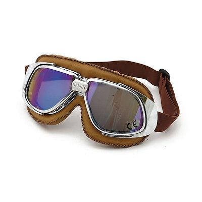 Bandit Classic Goggle, blaue Linse, Motorradbrille, Leder, braun, für Jethelme