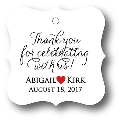 48 Thank you for celebrating with us! Personalized Wedding Favor Tag - Wedding Favor Tags