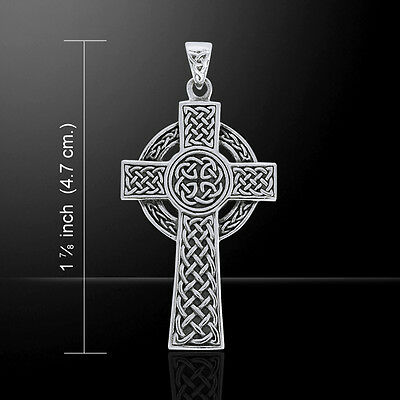 Celtic Cross Large .925 Sterling Silver Pendant by Peter Stone Jewelry
