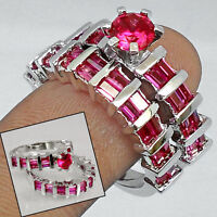 REDUCED PINK RUBY GEMS 925 SILVER COUPLE RINGS JEWELRY size 6.5