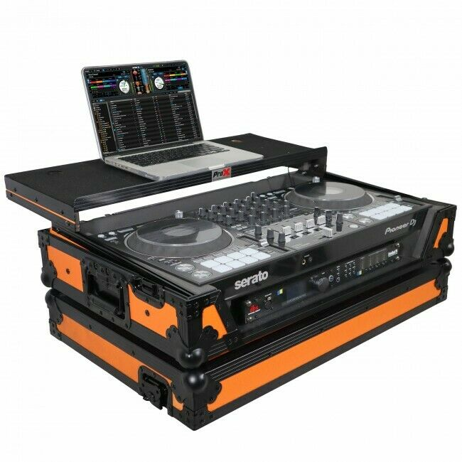 Pro X Case for Pioneer DDJ-1000 Controller W/Laptop Shelf & LED Strip (Orange)