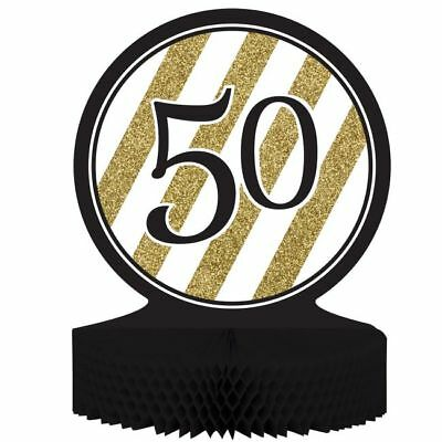 Black and Gold 50th Birthday Honeycomb Centerpiece Fifty Birthday Party Decor (Black And Gold Birthday)