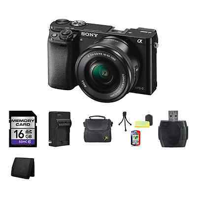 Sony Alpha a6000 Mirrorless Digital Camera - Black w/16-50mm Lens 16GB Package