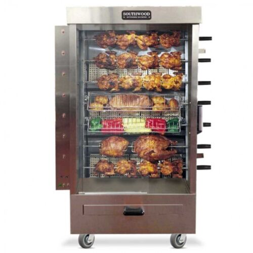 Southwood RG7 35 Chicken Commercial Rotisserie Oven Machine, GAS Spit Skewer