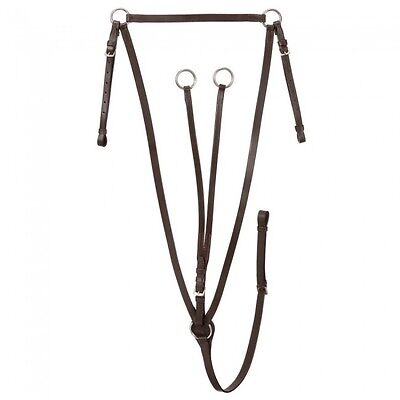 DA Brand deluxe brown leather raised breastplate running martingale English (English Breastplate)