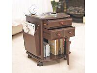 Companion Table Bedside Storage Magazine Rack Drawers