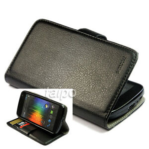Wallet Litchi Leather Flip Skin Case Cover For Samsung Galaxy NEXUS I9250 Black