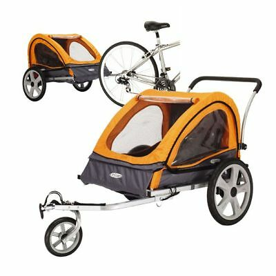 Bike Trailer for Kids Stroller 2-in-1 Double Twin Seat Baby Carrier with Coupler