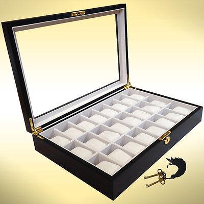 24 Wood Watch Display Jewelry Collector Case Gift Storage Box Ebony Walnut 1087e