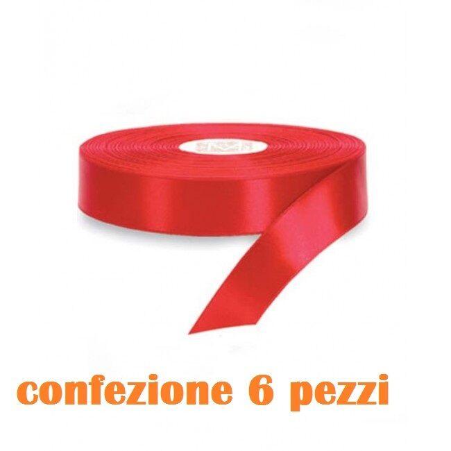 Set 6 Pezzi Nastro Di Raso Rosso 2cmx25m Bomboniere Regali moc